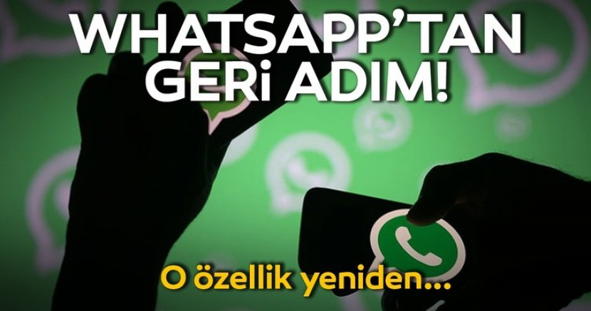 WhatsApp'ten Geri Adım Geldi